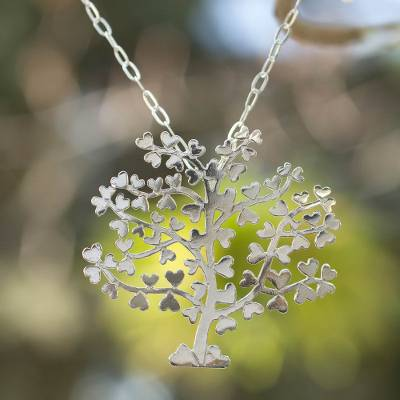 Sterling silver pendant necklace, 'Tree of Love' - Sterling silver pendant necklace