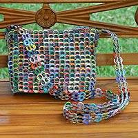 Soda pop-top cosmetics shoulder bag, 'Silver Chic Colors' - Hand Made Aluminum Recycled Shoulder Bag