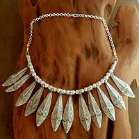 Sterling silver choker, 'Lance of Light' - Handcrafted Sterling Silver Statement Necklace from India