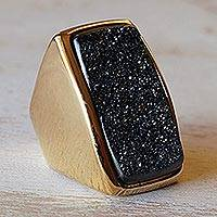 Brazilian drusy agate cocktail ring, 'Night Goddess' - Brazilian Gold Plated Drusy Cocktail Ring