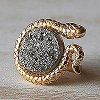 Brazilian drusy agate cocktail ring, 'Golden Serpent' - Gold Plated Drusy Cocktail Ring