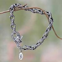 Sterling silver link bracelet, 'Uluwatu Inspirations' (6 inch) - 925 Silver Bali Link Bracelet with Dragonfly (6 Inch)