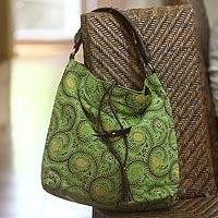Cotton batik and leather accent hobo bag, 'Indramayu Paradise' - Cotton Batik Green and Brown Hobo Bag with Leather Accent