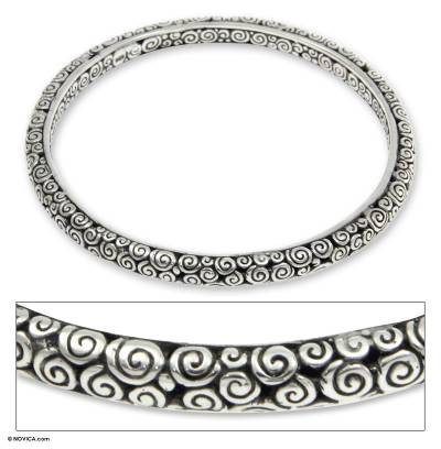 Sterling silver bangle bracelet, 'Temple' (7.5 inch) - Artisan Crafted Sterling Silver Bangle Bracelet (7.5 Inch)