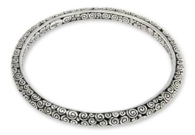Sterling silver bangle bracelet, 'Temple' (7.5 inch) - Artisan Crafted Sterling Silver Bangle Bracelet (7.5 Inch)