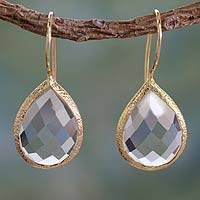 Vermeil quartz dangle earrings, 'Nature's Brilliance' - Clear Quartz and Gold Vermeil Earrings