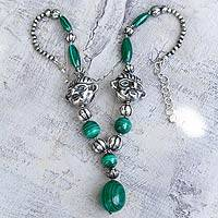 Malachite pendant necklace, 'Sipan the Great' - Malachite pendant necklace