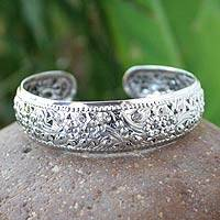 Sterling silver cuff bracelet, 'Beauty Blossom' - High Relief Flowers on Hill Tribe Sterling Silver Bracelet