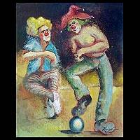 'The Clowns II' - Original Clown Themed Artwork from Cuba
