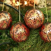 Ornaments, 'Lavish Celebrations ' (set of 4) - Set of 4 Hand Painted Round Christmas Ornaments from India
