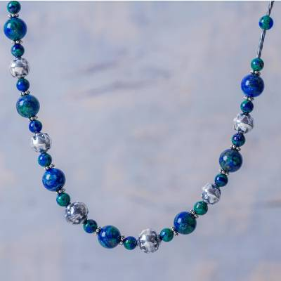 Sterling silver beaded necklace, 'Andean Globe' - Andes Handcrafted Silver BeadedLong Necklace