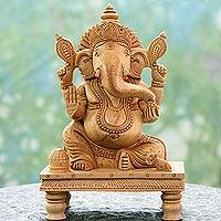 Wood sculpture, 'Peaceful Ganesha' - Wood sculpture