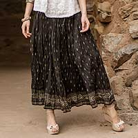 Cotton skirt, 'Royal Black Jaipur' - Crinkled Cotton Black Skirt with Block Print Flowers