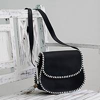 Leather shoulder bag, 'Kanpur Retro' - Black Leather Shoulder Bag with White