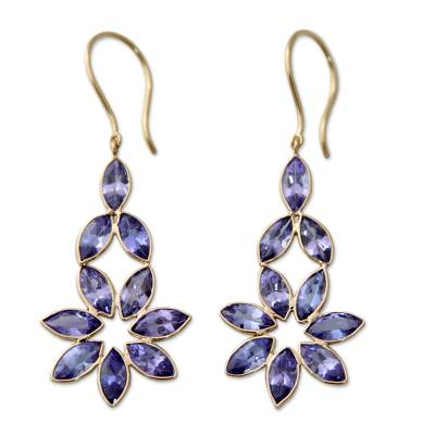 Gold accent tanzanite dangle earrings 'Tanzanite Petals' - 18k Gold Floral Earrings with Faceted Tanzanite Gems