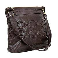 Leather shoulder bag 'Braided Waves' - Dark Brown Leather Tote Handbag with Braided Trim