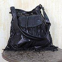 Leather shoulder bag, 'Bohemian Adventure' - Trendy Jet Black Leather Shoulder Bag with Boho Fringe