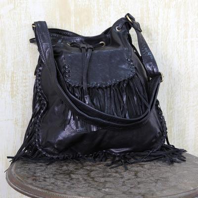 7110e0fe8734 Trendy Jet Black Leather Shoulder Bag with Boho Fringe - Bohemian ...