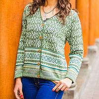100% alpaca cardigan, 'Andean Horizon' - Fair Trade Alpaca Wool Cardigan Sweater