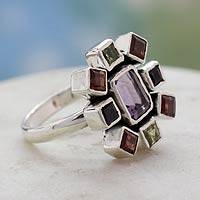 Amethyst and garnet cocktail ring, 'Color Wheel' - Handcrafted Gemstone Cocktail Ring