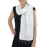 Silk and cotton scarf, 'Creamy White Harmony' - Hand Woven Cotton and Silk Blend Scarf from Thailand