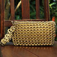 Soda pop-top wristlet bag, 'Golden Hope and Change' - Recycled Soda Pop Top Wristlet from Brazil