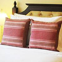 Cotton cushion covers, 'Royal Red' (pair) - Artisan Crafted Cotton Cushion Covers (Pair)