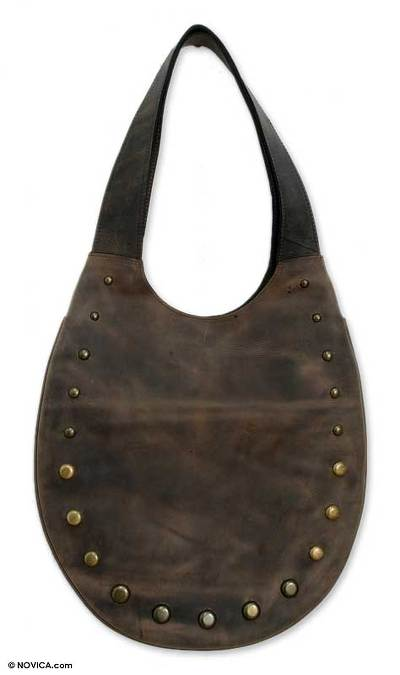 Leather shoulder bag, 'Weathered in Wild Brown' - Leather shoulder bag
