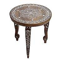 Inlaid wood accent table, 'Tea Time in Delhi' - Indian Style Inlaid Wood Accent Table
