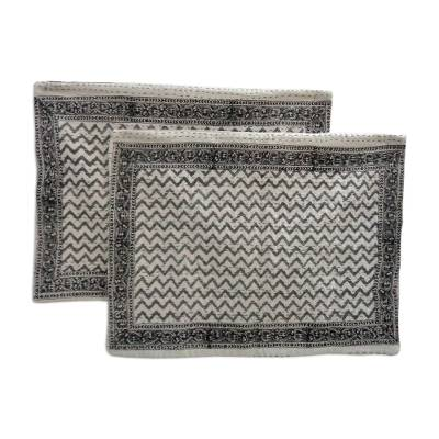 Cotton pillow shams, 'Grey Lines' (pair) - Block Printed Grey Zigzag Pillow Shams in 100% Cotton (2)