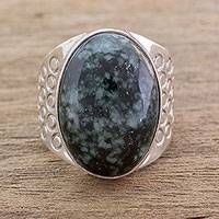 Men's jade ring, 'Verdant Night' - Men's Modern Sterling Silver Single Stone Jade Ring