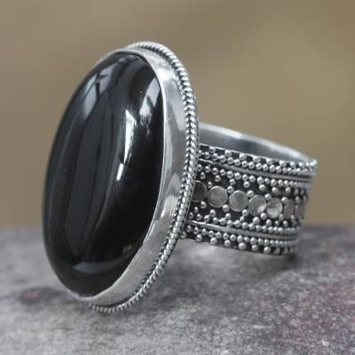 Onyx cocktail ring, 'Oracle' - Handmade Indonesian Onyx and Silver Cocktail Ring