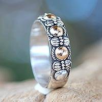 Gold accent band ring, 'Five Moons' - Hand Crafted Silver Ring with Accents in 18k Gold