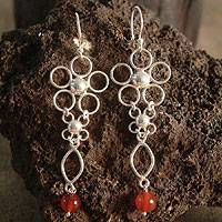 Carnelian flower earrings, 'Daisy Magic' - Floral Sterling Silver and Carnelian Dangle Earrings
