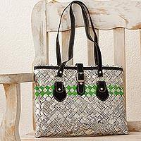 Novica Recycled metalized wrapper and leather accent shoulder bag, Shining Sun