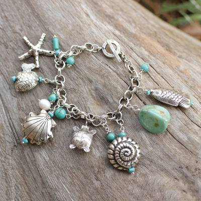 Cultured pearl charm bracelet, 'Open Sea' - 950 Silver and Cultured Pearl Charm Bracelet