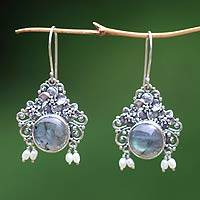 Pearl and labradorite flower earrings, 'Royal Heritage' - Floral Labradorite Sterling Silver Dangle Earrings