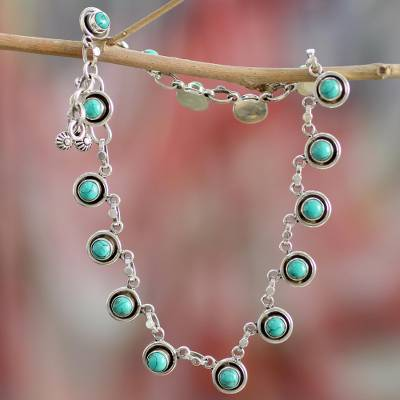 Turquoise anklet, 'India Trends' - Fair Trade India Ankle Jewelry Turquoise and Sterling Silver