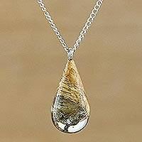 Wood pendant necklace, 'Woodland Tear' - Unusual One of a Kind Wood and Resin Pendant Necklace