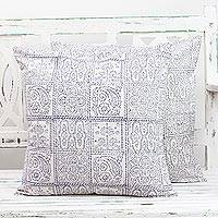 Cotton cushion covers, 'Violet Windows' (pair) - Pair of Cotton Cushion Covers in White and Violet from India
