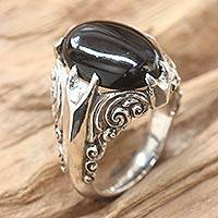 Onyx cocktail ring, 'Dark Surf' - Women's Sterling Silver and Onyx Cocktail Ring
