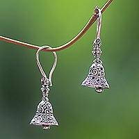 Sterling silver earrings, 'Sound of a Bell' - Sterling Silver Ringing Bell Balinese Dangle Earrings