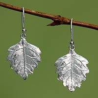 Sterling silver dangle earrings, 'Glistening Leaves' - Fair Trade Sterling Silver Leaf Earrings