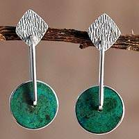 Chrysocolla dangle earrings, 'Opposites Attract' - Unique Modern Sterling Silver Drop Chrysocolla Earrings
