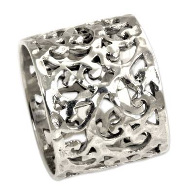 Sterling silver band ring, 'Exotic Bali' - Handmade Floral Sterling Silver Band Ring