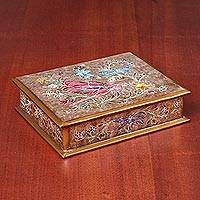 Reverse-painted glass decorative box, 'Dragonfly Vision' - Handmade Reverse-Painted Glass Trinket Box