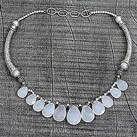 Sterling silver waterfall necklace, 'White Petals' - White Chalcedony and Sterling Silver Choker Necklace