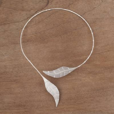 Sterling silver leaf choker, 'Andean Frost' - Handcrafted Leaf Sterling Silver Choker Necklace