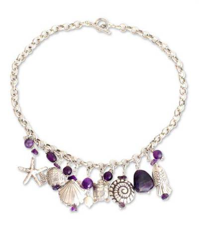 Pearl and amethyst pendant necklace, 'Open Sea' - Sterling Silver and Pearl and Amethyst Necklace