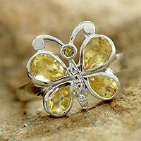 Citrine cocktail ring, 'Yellow Butterfly' - Sterling Silver and Citrine Cocktail Ring